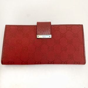 Women's Gucci Red GG Canvas & Leather Wallet